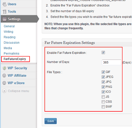 wordpress far future expiration plugin settings