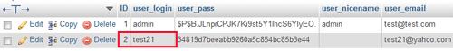 inserted wp user record screenshot