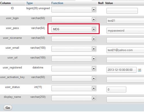insert a new wp user record screenshot