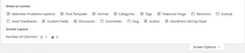 wordpress screen options menu