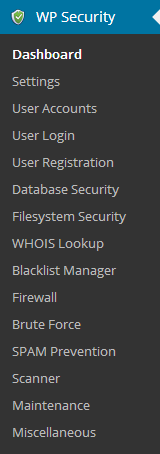 All In One WP Security Admin Menu