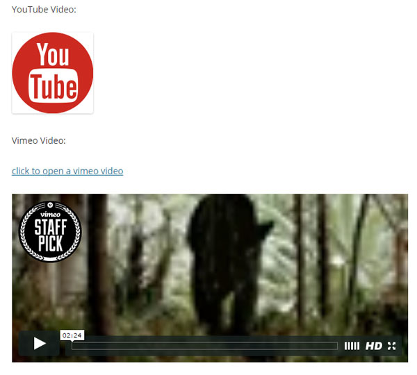 screenshot showing vimeo video embed using toggle media wordpress plugin