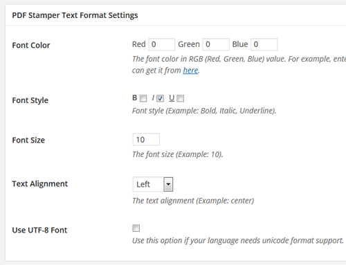 pdf-stamper-plugin-text-formatting-settings